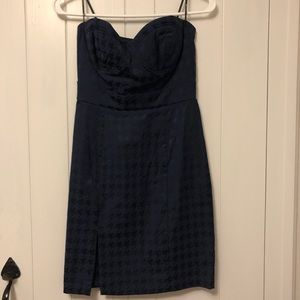 Navy blue houndstooth strapless dress